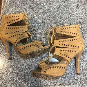 Brown suede look lace tie heels 8